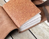 Brown Leather Journal with Tiger Print Decorative End Papers