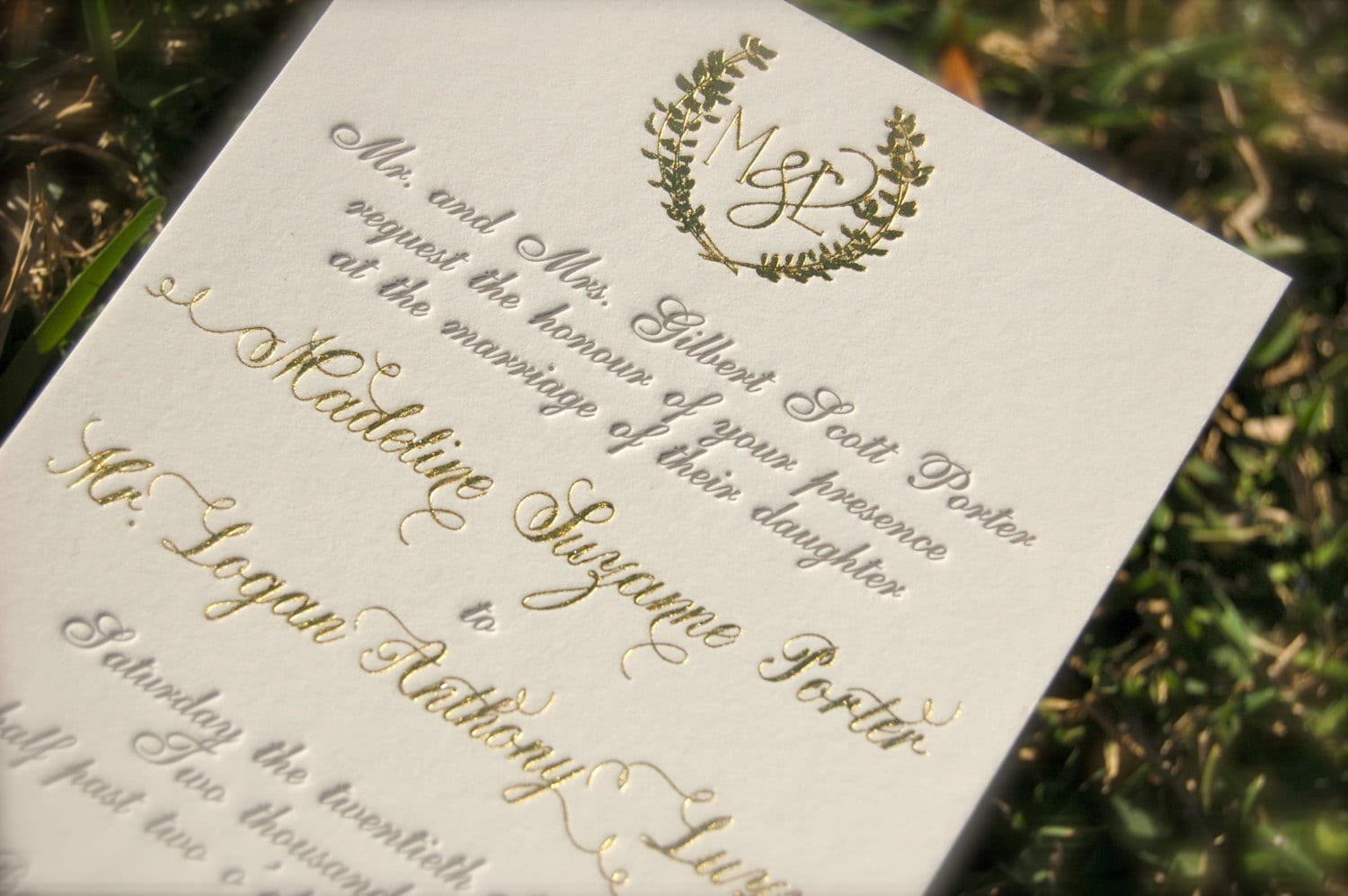 Gold Foil Stamped Wedding Invitations: Gold Foil Monogram And Charcoal Letterpress Wedding