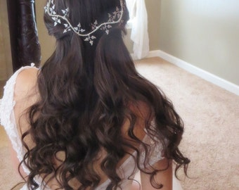 Bridal Hair vine, Wedding headpiece, Leaf hair vine, Crystal hair vine, Silver leaf headpiece, Vintage style hair vine, Wedding hair vine