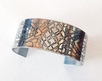 Etched Aluminum Cuff, Art Deco Bracelet