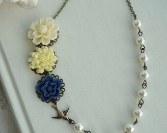 Three Flowers, Yellow, Navy Blue, Ivory Chrysanthemum Ivory Pearls Flower Necklace. Bridal Bridesmaid Gifts. Rustic Blue and Ivory Wedding