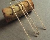 Gold Filled Earrings, Modern, Minimalist - Golden Hairpin Earrings