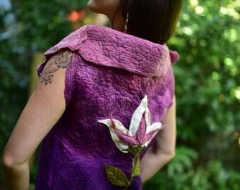Nuno Felted Fairy Leaf Flower Goddess Princess Vest Gown With High Collar OOAK