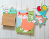 Fox woodland Party printable decor kit fox party game instant download treat topper party favor