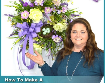 How To Make Spring Wreaths Video, Decorative Spring Wreaths for Front Door, Spring Wreaths DIY, Spring Wreaths, Spring Wreath Tutorial