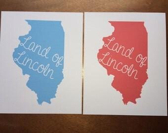 Land of Lincoln – Illinois Silhouette – 8x10 Print