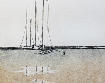 original etching and aquatint of sailing boats on the beach, with mat