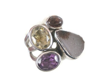 Druzy Ring, Sterling Silver, Multi Stone, Amethyst, Vintage Ring, Statement Ring, Heavy Silver, Size 8, Boho Bohemian, Wide Band, Huge Ring