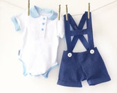 Baby Boy Shortall Onesie Set - 2 Piece Outfit   Coming Home Outfit   First Birthday
