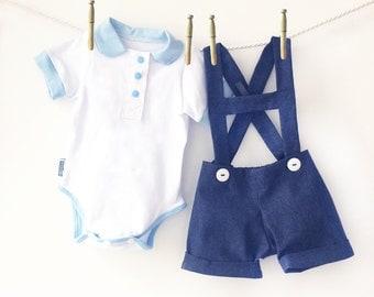 Baby Boy First 1st Birthday Outfit, Boys Shortall Shorts Onesie Shirt Outfit, Peter Pan Collar Onesie Denim Short Set, Little Man Clothes