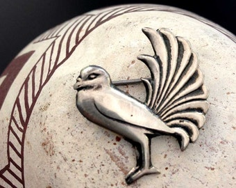 Vintage Mexican Sterling Silver Bird Pin Brooch | Mexico Fancy Feathers | Mexican Silver Pin 925 | Repousse | Silver Vintage Bied Brooch