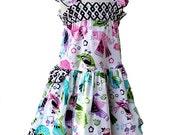 Flutter Sleeve Toddler Dress Cotton Party Dress Pink Purple Aqua Bird Little Girl Easter Dress Size 6 9 12 18 month 2T 3T 4T Girl Toddler