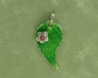 Fine silver enameled raspberry leaf with pink sapphire flower pendant DTPD