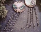 Abalone Silver Chain Jellyfish Earrings -BENEATH