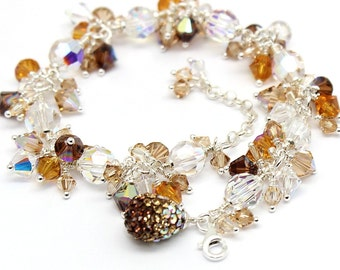 Crystal Cluster Bracelet Bridal Party Jewelry Champagne Gold Topaz Coffee Mocha Sparkle Swarovski Crystals Sterling Wrapped