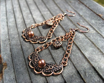 All Copper Floral Earrings