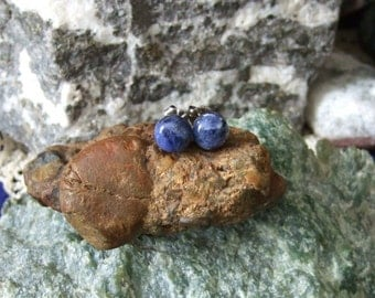 Sodalite 8mm Stud Earrings Titanium Posts and Clutches Made in Newfoundland Blue Hypo Allergenic