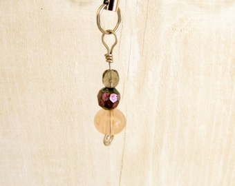 Glass Bead Crystal Wire Wrapped Cell Phone or Purse  Charm # 53