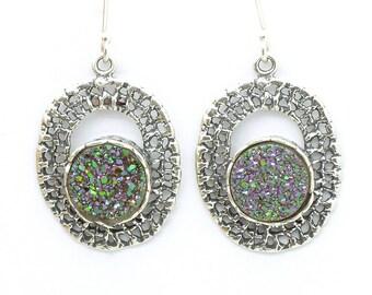 Green druzy agate earrings set in oval silver