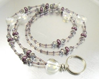 Crystal Aurora Borealis Heart and Purple Glass Pearl Beaded ID Lanyard, Badge Holder, ID Necklace