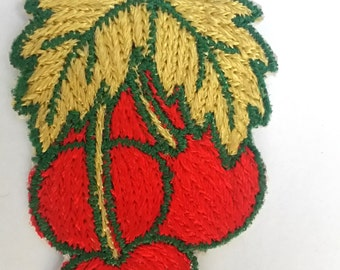 VINTAGE HANDMADE APPLIQUE patch, cherries, red cherries, exotic fruit, kitschy linen, 1950s patch, embroidered art, hand made, cherry red