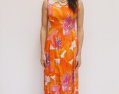 1960s Alfred Shaheen tropical maxi dress