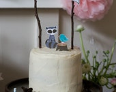 Woodland Raccoon Printable Cake Topper Set
