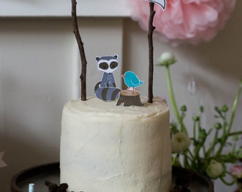 Woodland Raccoon Printable Cake Topper Set