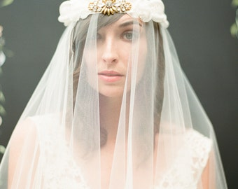 Cybil headpiece and veil with gold and crystal detailing