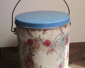 Metal Tin, Vintage Cookie Tin, Storage Container, Cottage Style Decor, Country Style, Spring Decorating Ideas
