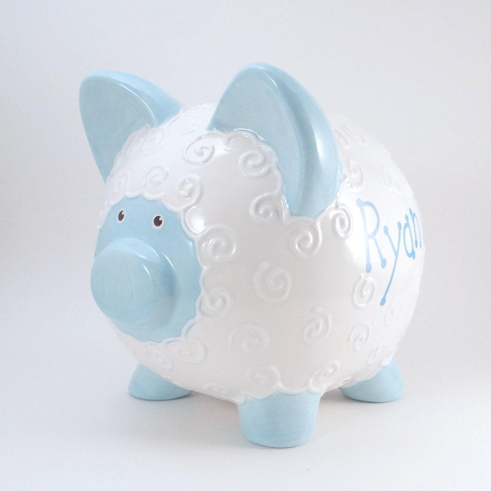 Blue Lamb Piggy Bank Personalized Ceramic Piggy Bank Baby