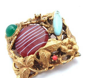 Glass Gemstone Turquoise Blue Coral Aventurine Pearl Carnelian Brooch, Botanical Leaf Floral Geometric Costume Jewelry