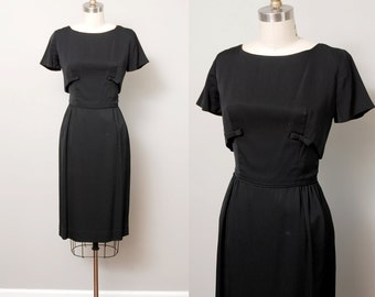 1950s Dress - 50s Little Black Wiggle Dress with Cropped Shell and Bows