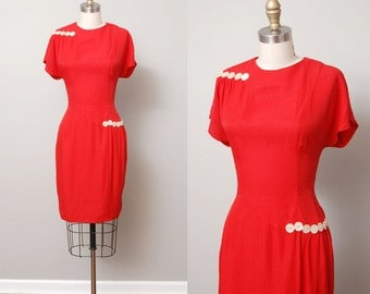 1980s Dress - Red Button Detail Nautical Dress
