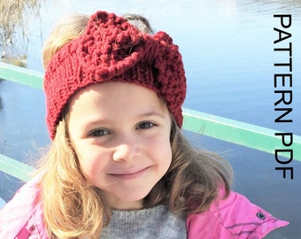 Instant Download Knitting Pattern   Headband Knitting  PATTERN Toddler   Child   Adult  Sizes  Downloadable Pattern With Bow  Beginners