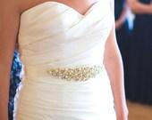 Beaded Pearl bridal sash pearls rhinestones ivory champagne gold silver