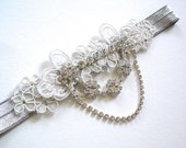 Duchess lace rhinestone and metallic Luxe single bridal Garter wedding EXTRA LACE