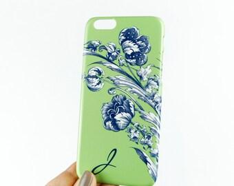iPhone 6S Plus Case Monogram iPhone 5S, Spring Floral iPhone 6S Case, Green and Blue iPhone 6 Case iPhone SE,  Personalized Case