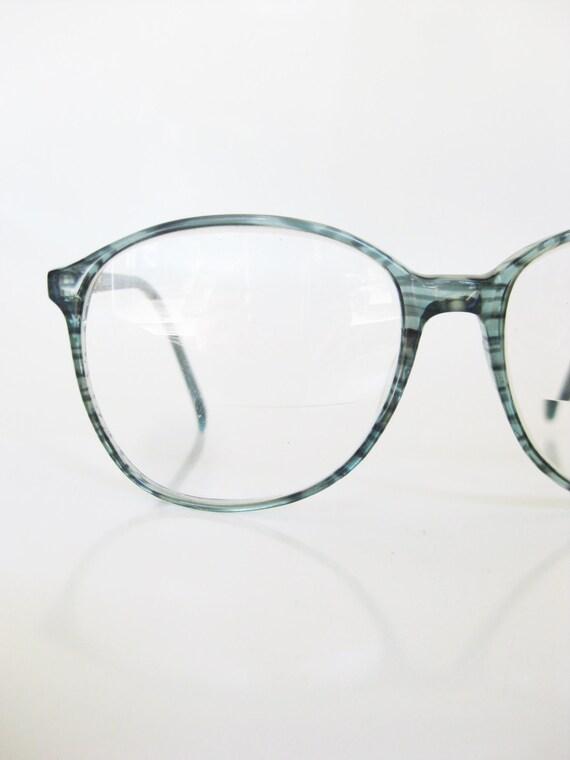 Green 1970s Eyeglasses Vintage Round Oversized Huge Grass Mint
