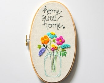 Home Sweet Home Personalized Housewarming Gift. Colorful Embroidery Hoop Art Home Decor. Housewarming Gift under 100. Handmade by KimArt.
