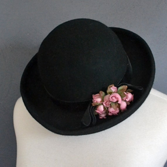 90s Black Felt Bowler Hat with Floral Accent and Velvet Band