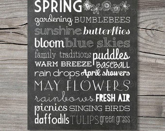 Spring Chalkboard Subway Word Art Decor Typography Printable Digital File,11x14, Instant Download