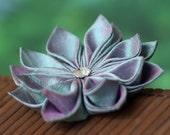 Mermaid Brooch, silk flower pin, aqua blue, pink, Japanese, kanzashi, floral, wedding, bridal, aurora, UK, handmade