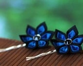 Peacock blue hair pins, flower bobby pins, kanzashi, bridal hairpiece, wedding hair accessories, black silk, Japanese, UK, handmade