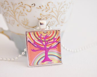 tree of life pendant, bodhi tree necklace, yoga jewelry, hippie necklace, square pendant