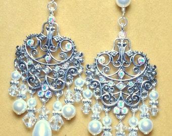 Bridal Earrings / Wedding Jewelry / Sterling silver Chandelier Swarovski Crystal and Pearl Earrings / Long earrings /