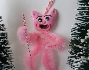 Vintage Style Pink Piggy Folk Art Feather Tree Holiday Christmas Ornament Gift