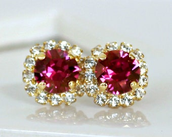 Champagne Fuchsia Swarovski Crystals Framed with Clear Halo Crystals on Gold Stud Earrings, Crystal Halo Earrings