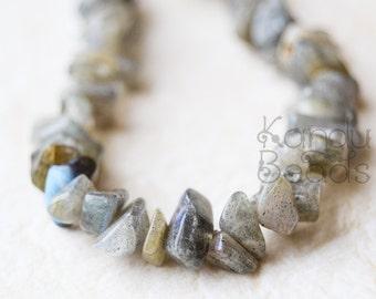 "Labradorite Small Chip Beads  6-8mm  LONG 36"" strand"