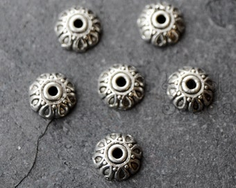 15 Silver Color Metal Decorative Loop Domed Spacer Bead Cap Beads  7mm